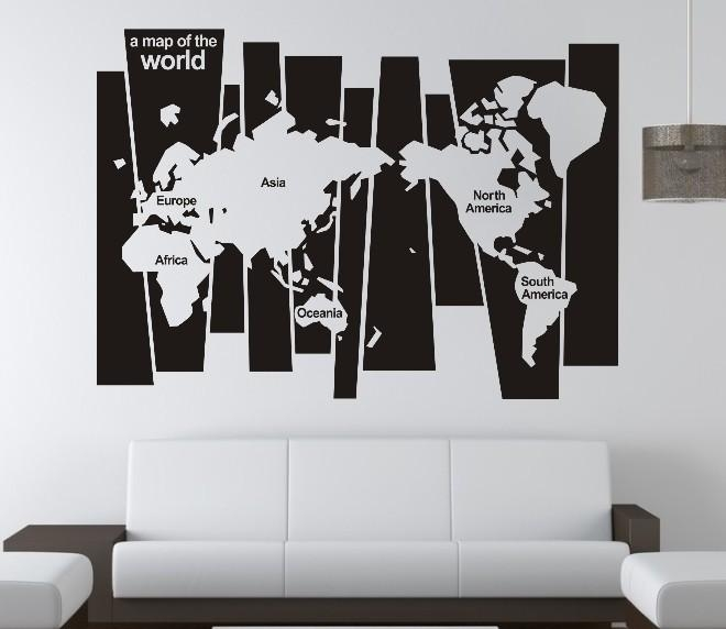 5 Types Of Wall Art Stickers To Beautify The Room » Inoutinterior Pertaining To Europe Map Wall Art (Image 5 of 20)