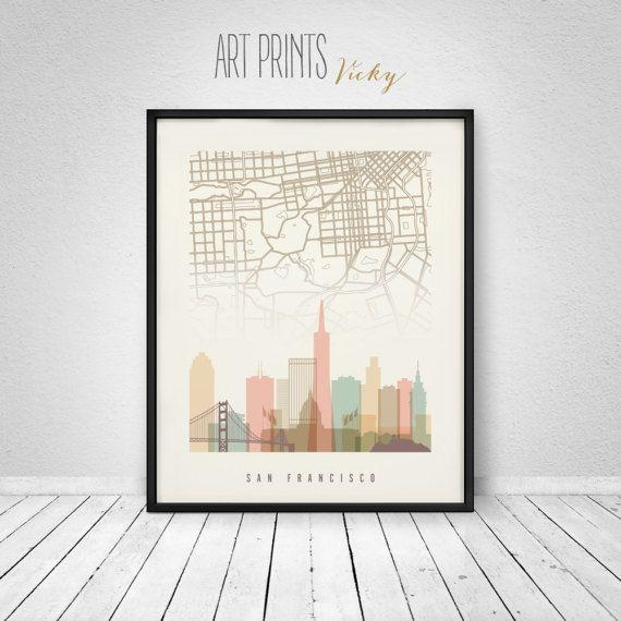 58 Best Skylines With City Maps Images On Pinterest | City Maps In San Francisco Map Wall Art (Image 3 of 20)