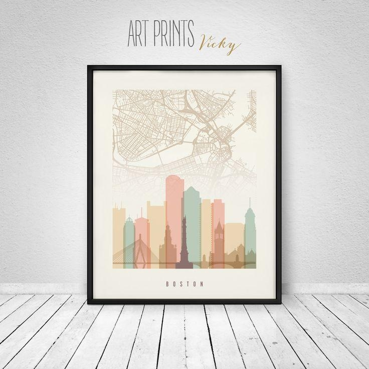 58 Best Skylines With City Maps Images On Pinterest | City Maps Intended For Boston Map Wall Art (Image 9 of 20)