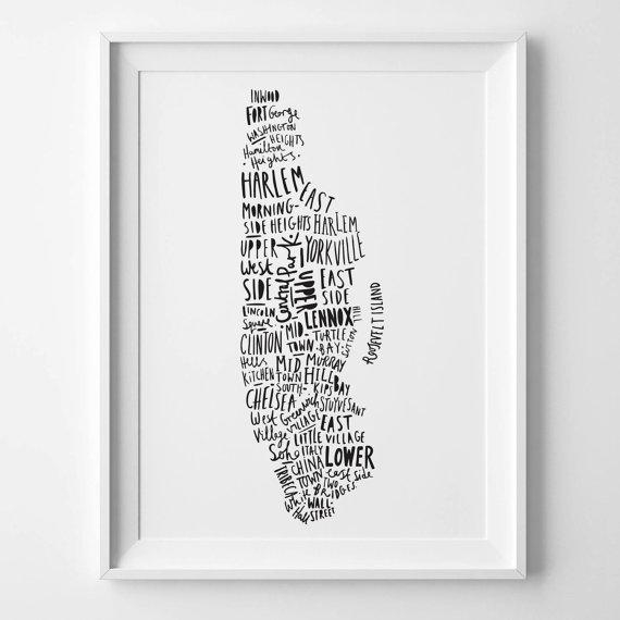 8X10 New York Print Map Of New York Ny Poster New Throughout New York Map Wall Art (Image 3 of 20)