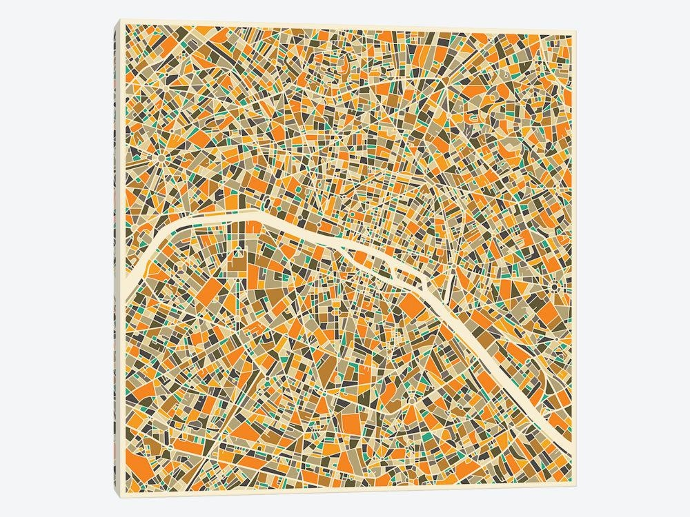 Abstract City Map Of Paris Canvas Wall Artjazzberry Blue | Icanvas In Paris Map Wall Art (Image 5 of 20)
