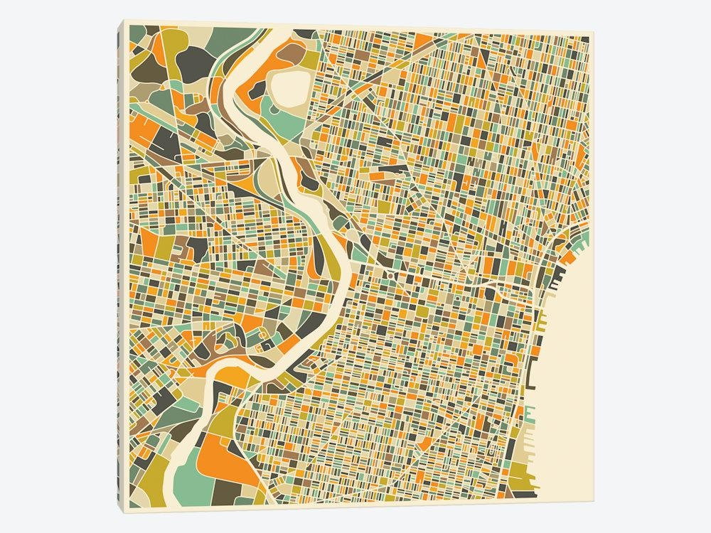 Abstract City Map Of Philadelphia Canvas Art  | Jazzberry Blue With Regard To Philadelphia Map Wall Art (Image 4 of 20)