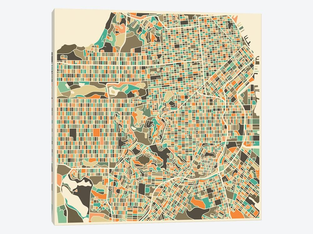 Abstract City Map Of San Francisco Canvas Art | Jazzberry Blue Within San Francisco Map Wall Art (Image 4 of 20)