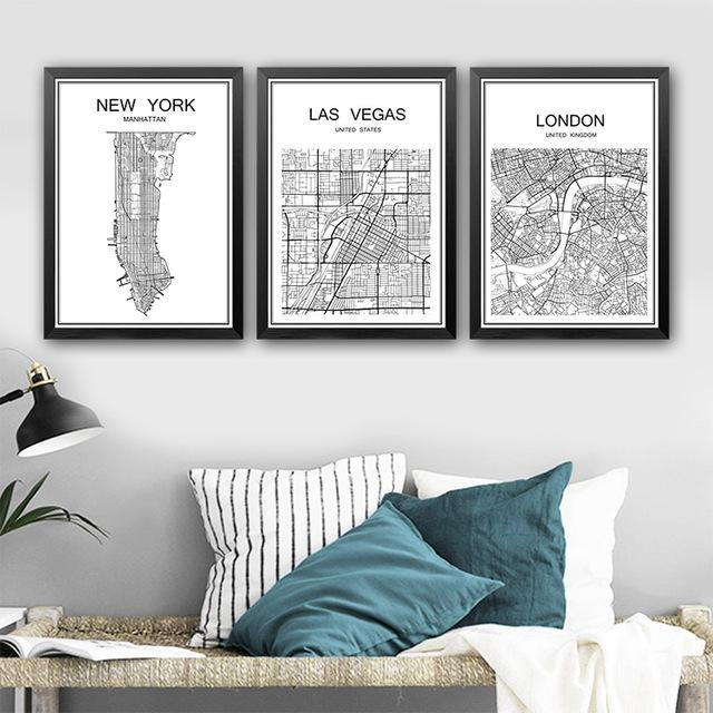 Abstract City Map Poster Vintage Painting Kraft Poster Antique Regarding City Map Wall Art (Image 5 of 20)