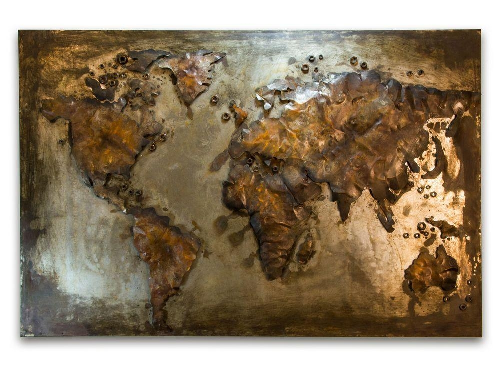 Abstract Metal World Map | Rusty World Wall Hanging Regarding Abstract World Map Wall Art (Image 3 of 20)