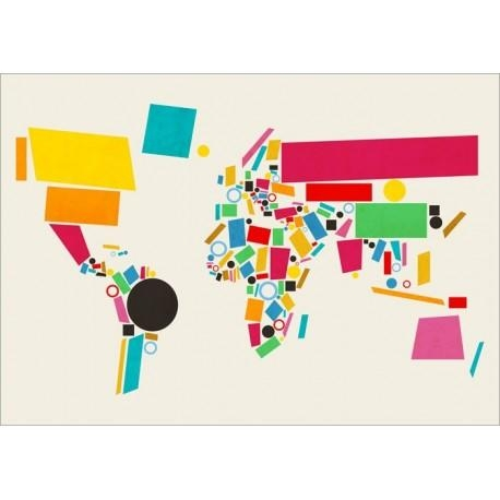 Abstract World Map Art Canvas Print Within Abstract World Map Wall Art (Image 4 of 20)