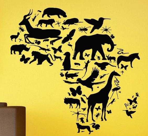 African Animal Map Wall Decal Africa Map Continent Animal Wall Art Inside Africa Map Wall Art (Image 6 of 20)
