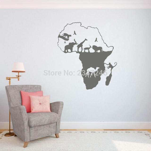 African Animal Map Wall Decal Continent Animal Wall Art Sticker In Africa Map Wall Art (Image 7 of 20)