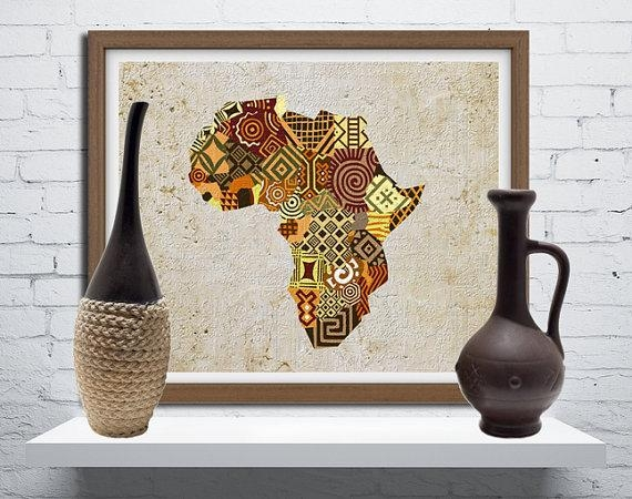African Map Art African Print Map Decor African Wall Art Throughout Africa Map Wall Art (Image 8 of 20)