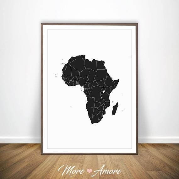 African Print Africa Map African Art Print Map Of Africa Throughout Africa Map Wall Art (Image 10 of 20)