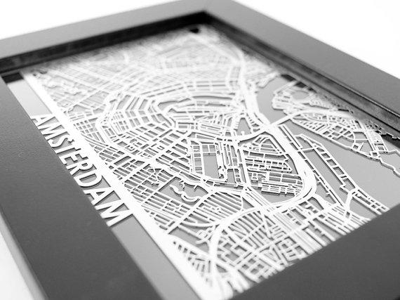 Amsterdam City Map Cut Maps Amsterdam Street Map Laser With Street Map Wall Art (Image 11 of 20)