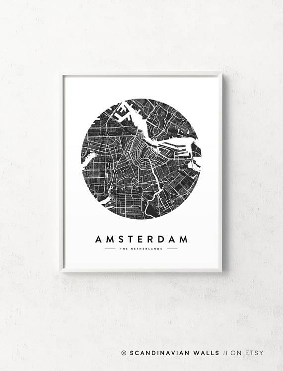 Amsterdam Print Amsterdam Map Amsterdam Poster Amsterdam With City Prints Map Wall Art (Image 9 of 20)