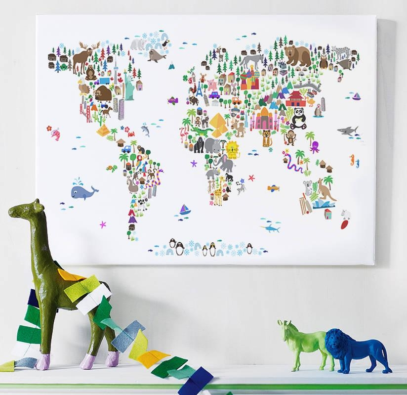 Animal World Map Printartpause | Notonthehighstreet Intended For Kids World Map Wall Art (Image 2 of 20)