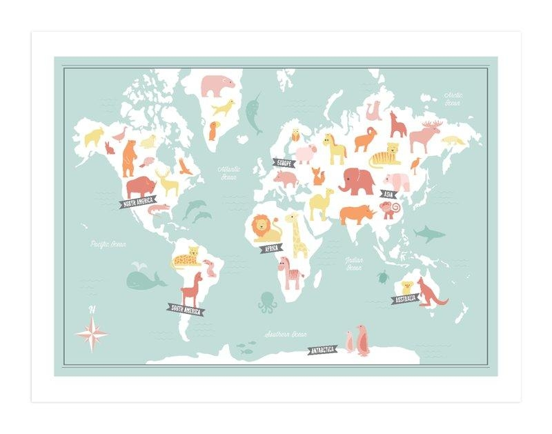 Animal World Map Wall Art Printsjessie Steury | Minted For World Map Wall Art Print (Image 1 of 20)