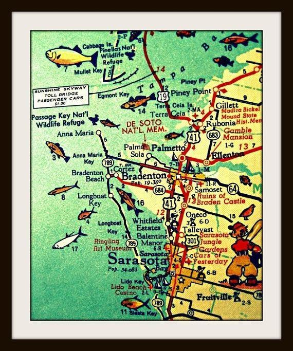 Anna Maria Key Map Art Sarasota Florida Map Art Siesta Key With Regard To Florida Map Wall Art (View 17 of 20)