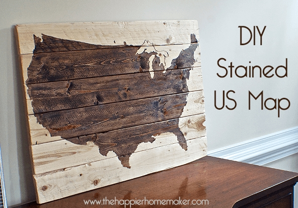 Another} Diy Stained Wood Map | The Happier Homemaker With Wood Map Wall Art (Image 3 of 20)
