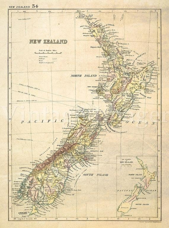 Antique New Zealand Map 1881 Old Map Of New Zealand (View 15 of 20)