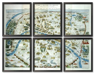 Antique Paris Map Print – Ballard Designs Inside Paris Map Wall Art (Image 7 of 20)