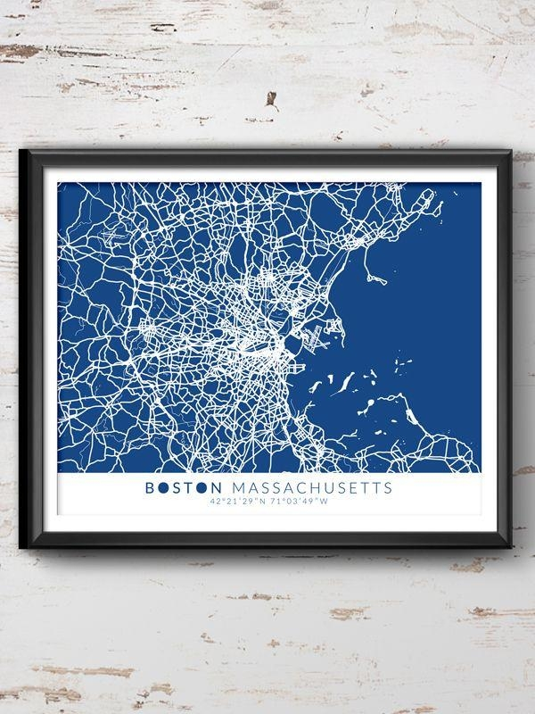 20 Best Boston Map Wall Art | Wall Art Ideas