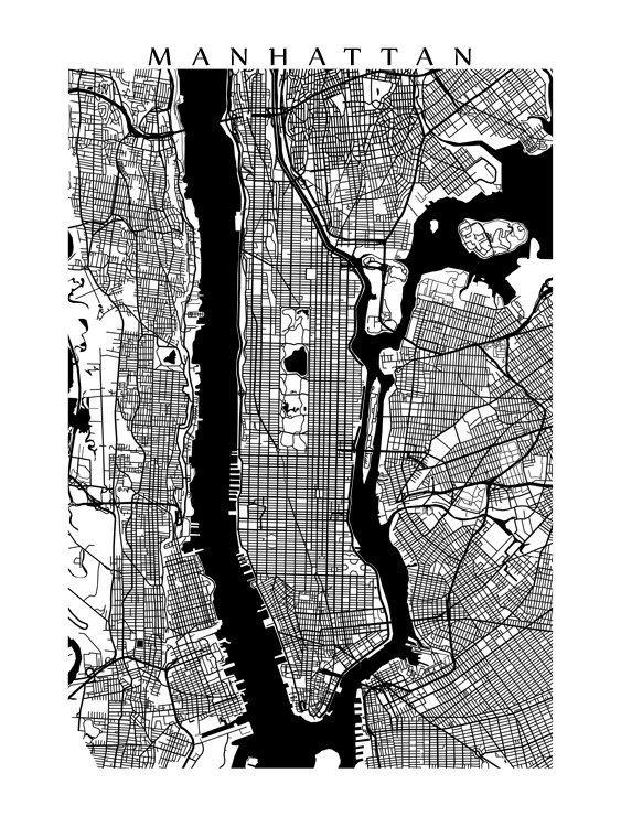 Best 25+ Manhattan Map Ideas On Pinterest | Map Of Manhattan, Map Pertaining To New York City Map Wall Art (Image 5 of 20)