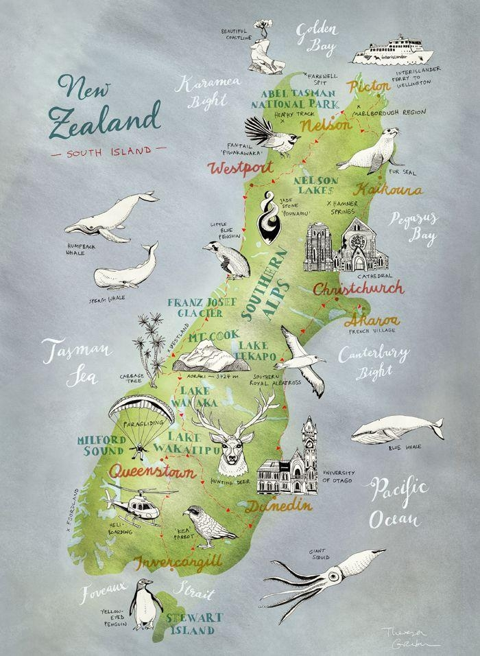 Best 25+ Map Of New Zealand Ideas On Pinterest | New Zealand Throughout New Zealand Map Wall Art (View 8 of 20)