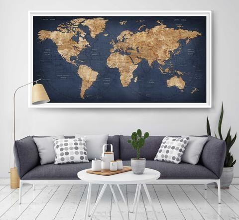 Best 25 Map Wall Decor Ideas On Pinterest Travel Decorations Large Inside Large Map Wall Art (Image 2 of 20)