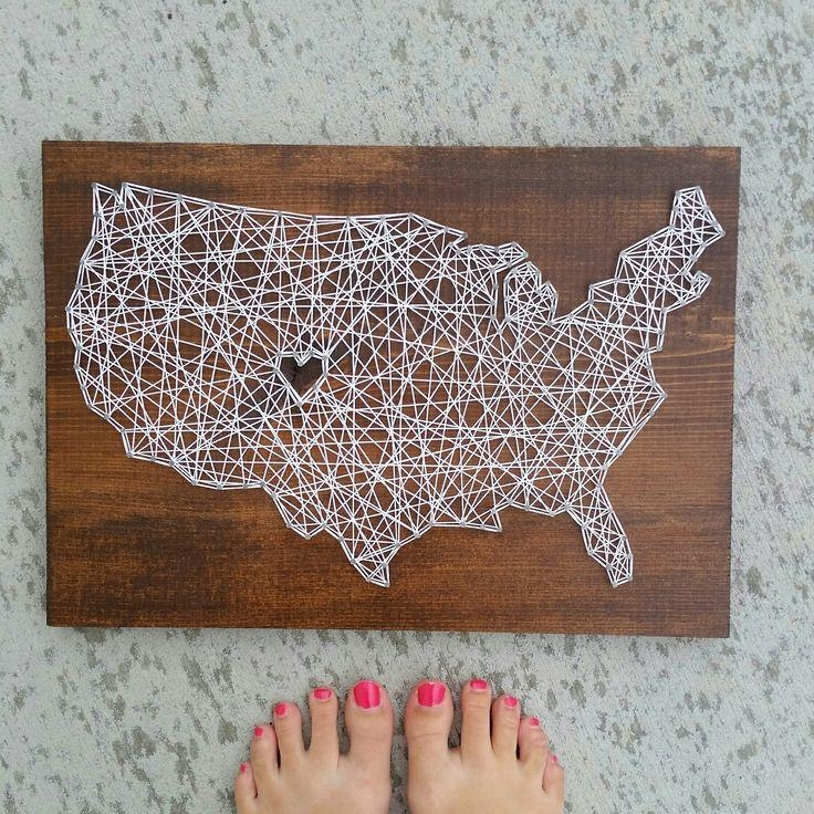 Best 25+ String Art States Ideas On Pinterest | Texas String Art Pertaining To String Map Wall Art (Image 5 of 20)