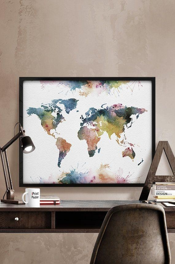 Best 25+ World Map Art Ideas On Pinterest | World Maps, World Map Within World Map Wall Art Print (Image 2 of 20)