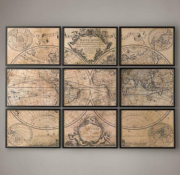 20 Best Collection of Old Map Wall Art | Wall Art Ideas