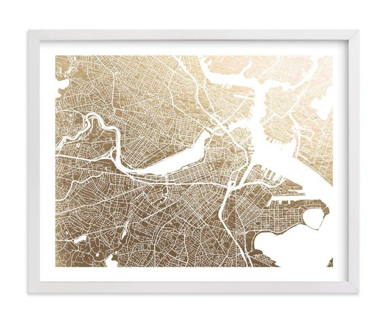 Boston Map Foil Pressed Wall Artalex Elko Design | Minted Pertaining To Boston Map Wall Art (View 19 of 20)
