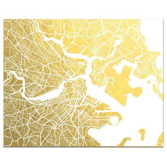 Boston Map Gold Foil Print Boston Wall Art Gold Foil Map Within Boston Map Wall Art (Image 14 of 20)