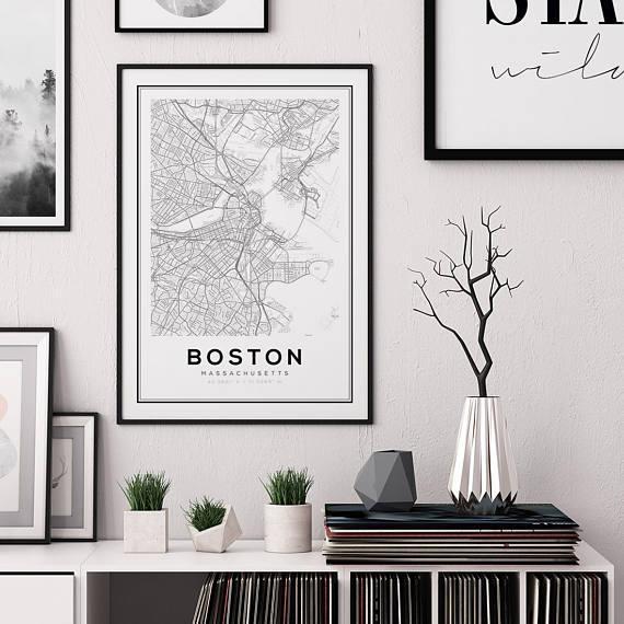 Boston Map Print City Map Decor City Map Wall Art With Boston Map Wall Art (Image 15 of 20)