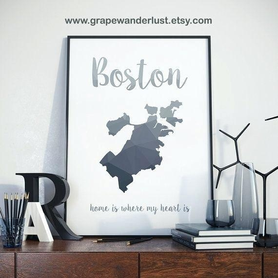 Boston Wall Art Boston Map Wall Art U2013 Bearister Intended For Boston Map Wall  Art (