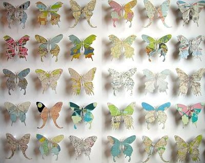 Bromeliad: How To Make Map Butterflies – Fashion And Home Decor For Butterfly Map Wall Art (Image 8 of 20)