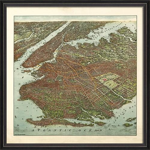 Brooklyn Map 1908 Framed Wall Artspicher And Company With Brooklyn Map Wall Art (Image 4 of 20)