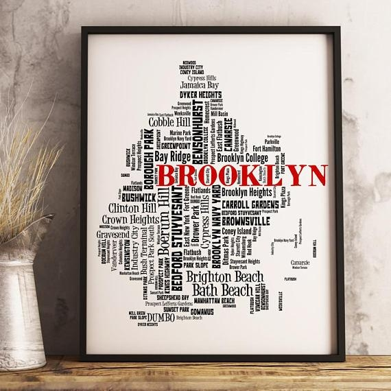 Brooklyn Map Art Brooklyn Art Print Brooklyn Neighborhood With Regard To Brooklyn Map Wall Art (Image 5 of 20)