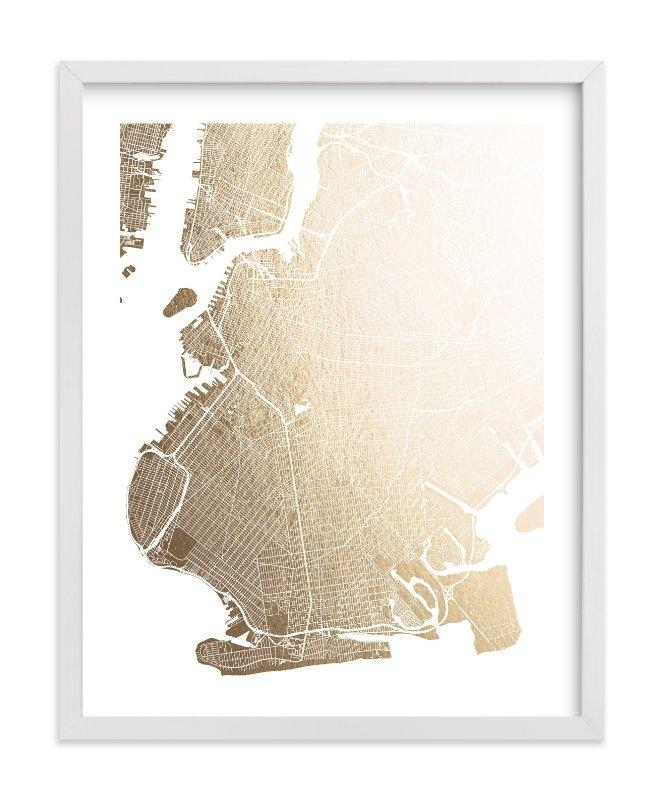 Brooklyn Map Foil Pressed Wall Artalex Elko Design | Minted Pertaining To Brooklyn Map Wall Art (Image 8 of 20)