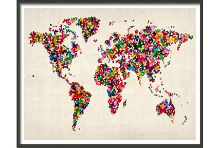 Butterflies Art Map Of The World – Large, Am927A, Maps International Regarding Butterfly Map Wall Art (Image 9 of 20)