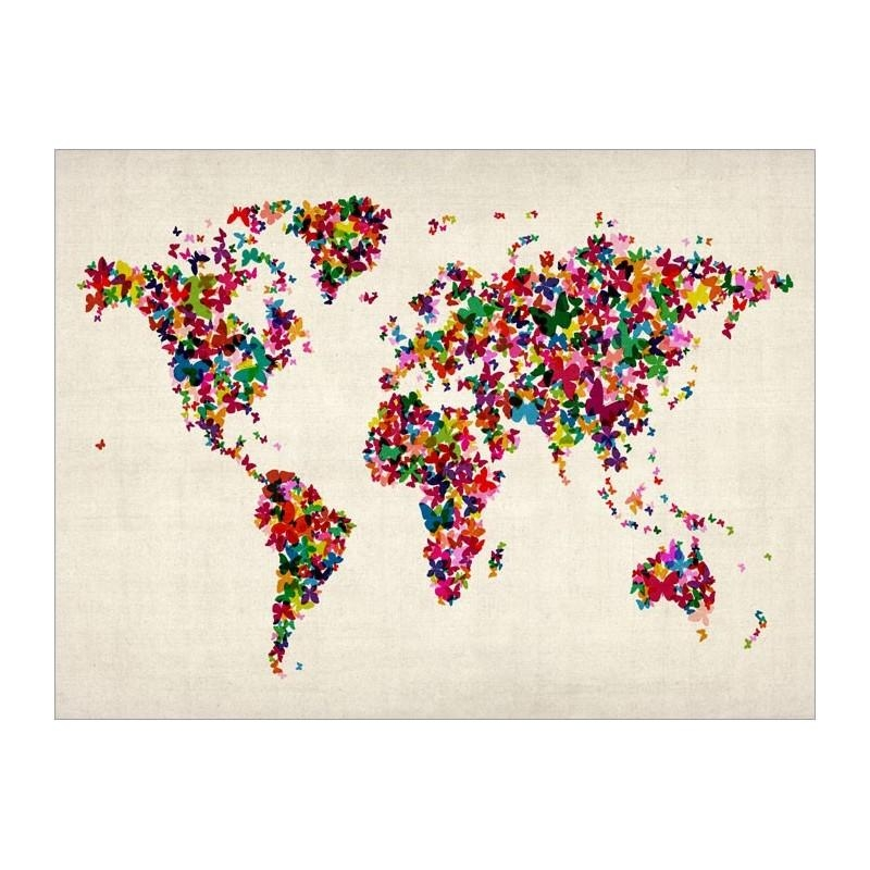 Butterflies World Map Art Canvas Print For Butterfly Map Wall Art (Image 10 of 20)