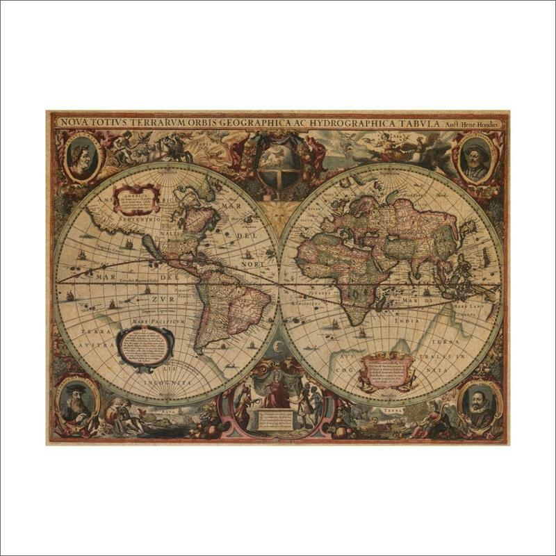Buy Vintage Nautical Charts And Get Free Shipping On Aliexpress Intended For Nautical Map Wall Art (Image 8 of 20)