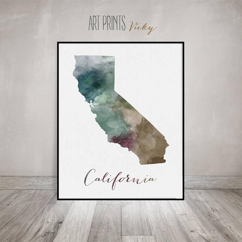California State Map, Watercolor Map, Wall Art, California Map Pertaining To State Map Wall Art (Image 4 of 20)
