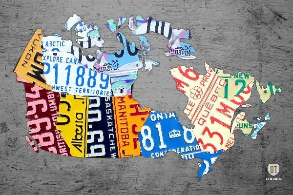 Canada License Plate Map On Gray Mixed Mediadesign Turnpike With Regard To License Plate Map Wall Art (Image 1 of 20)
