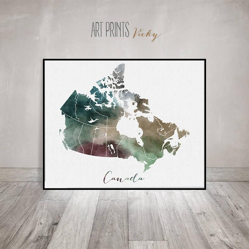 Canada Map, Canada Watercolor Map, Wall Art, Canada Map Poster In Map Wall Art Canada (View 6 of 20)
