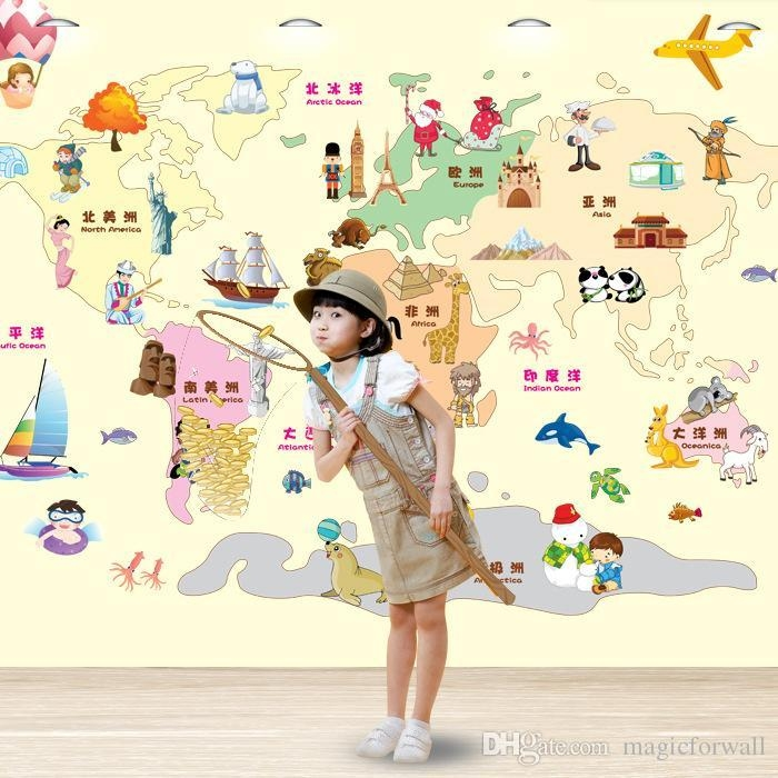 Cartoon World Map Wall Art Decor Kids Learning Living Room Pertaining To World Map Wall Art For Kids (View 10 of 20)