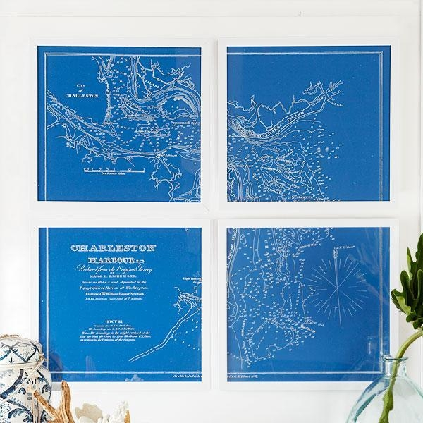 Charts Wall Art – Wall Art – Wisteria Pertaining To Nautical Map Wall Art (Image 9 of 20)