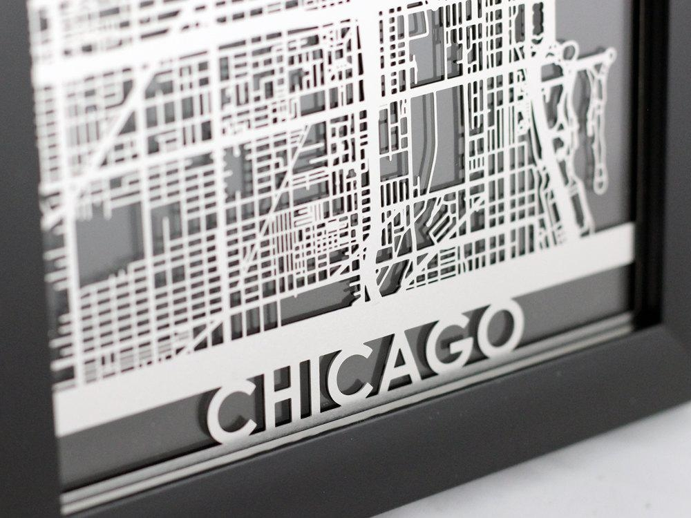 Chicago Illinois Stainless Steel Laser Cut Map 5X7 Regarding Chicago Map Wall Art (Image 5 of 20)