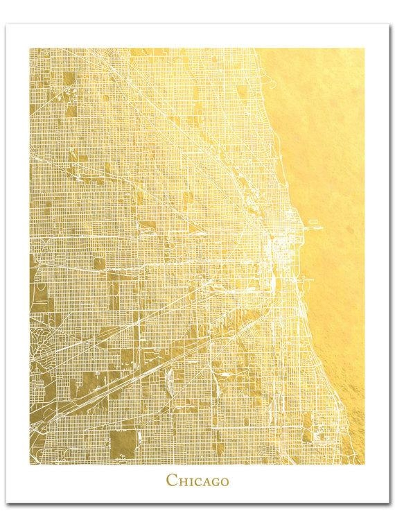 Chicago Map Chicago Print Gold Foil Print Gold Foil Map™ Throughout City Prints Map Wall Art (Image 11 of 20)