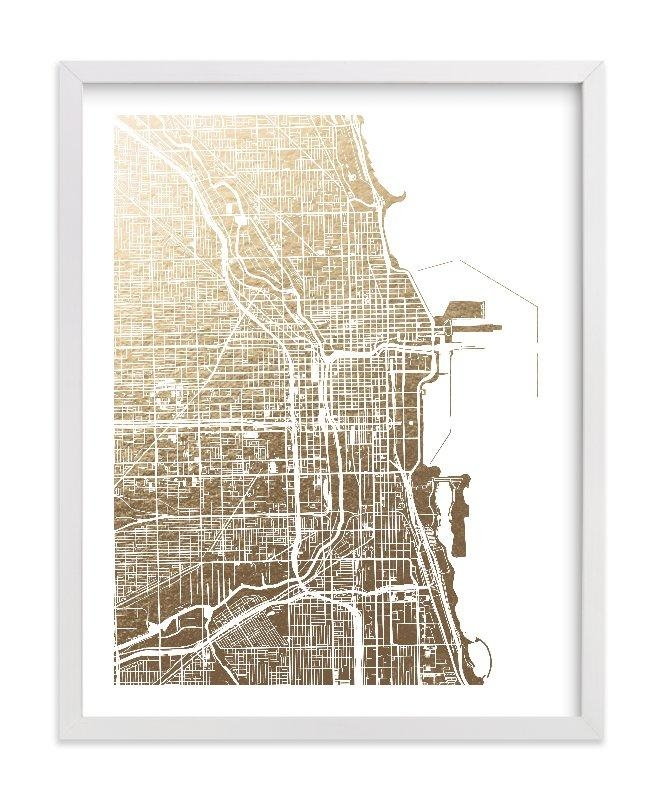 Chicago Map Foil Pressed Wall Artalex Elko Design | Minted Inside Chicago Map Wall Art (Image 8 of 20)