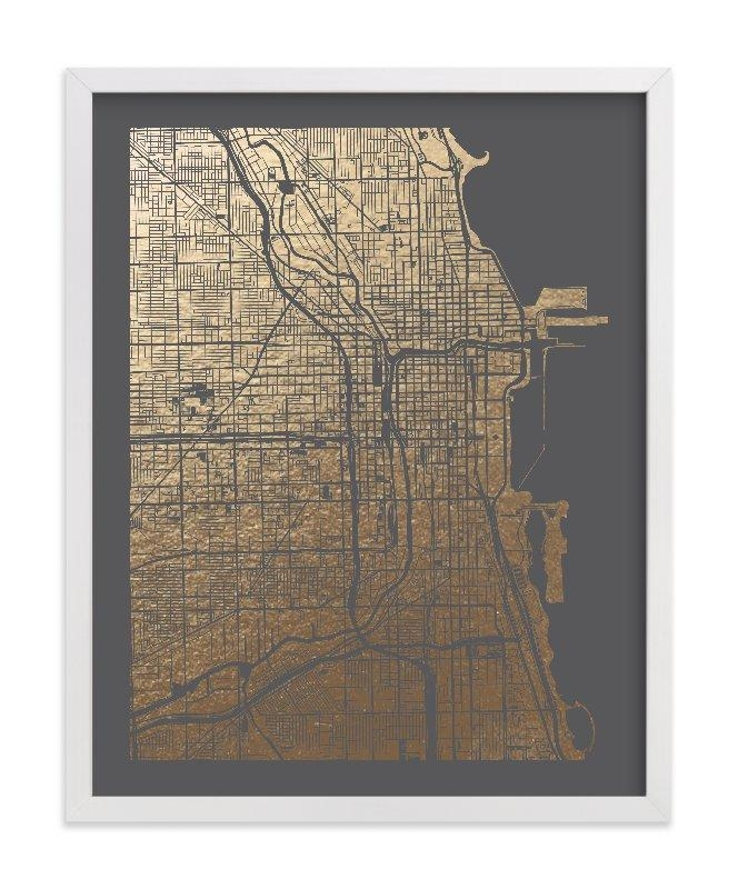 Chicago Map Foil Pressed Wall Artalex Elko Design | Minted Pertaining To Map Wall Art Prints (Image 12 of 20)