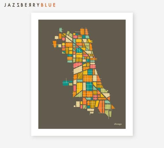 Chicago Map Giclee Fine Art Print Modern Minimal Wall Art Regarding Chicago Map Wall Art (Image 10 of 20)